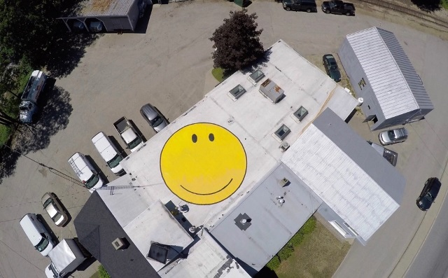 Smiley face on the roof for Happy Conway Video 2015