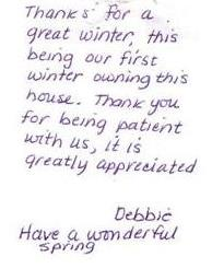 Thank you note to White Mtn Oil