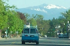 service van driving toward mount washington