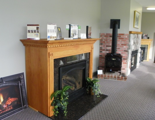 showroom photo of fireplace