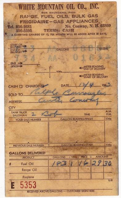 1963 Fuel Delivery ticket