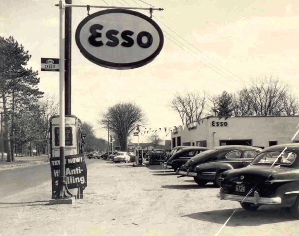 vintage photo of ESSO gas station